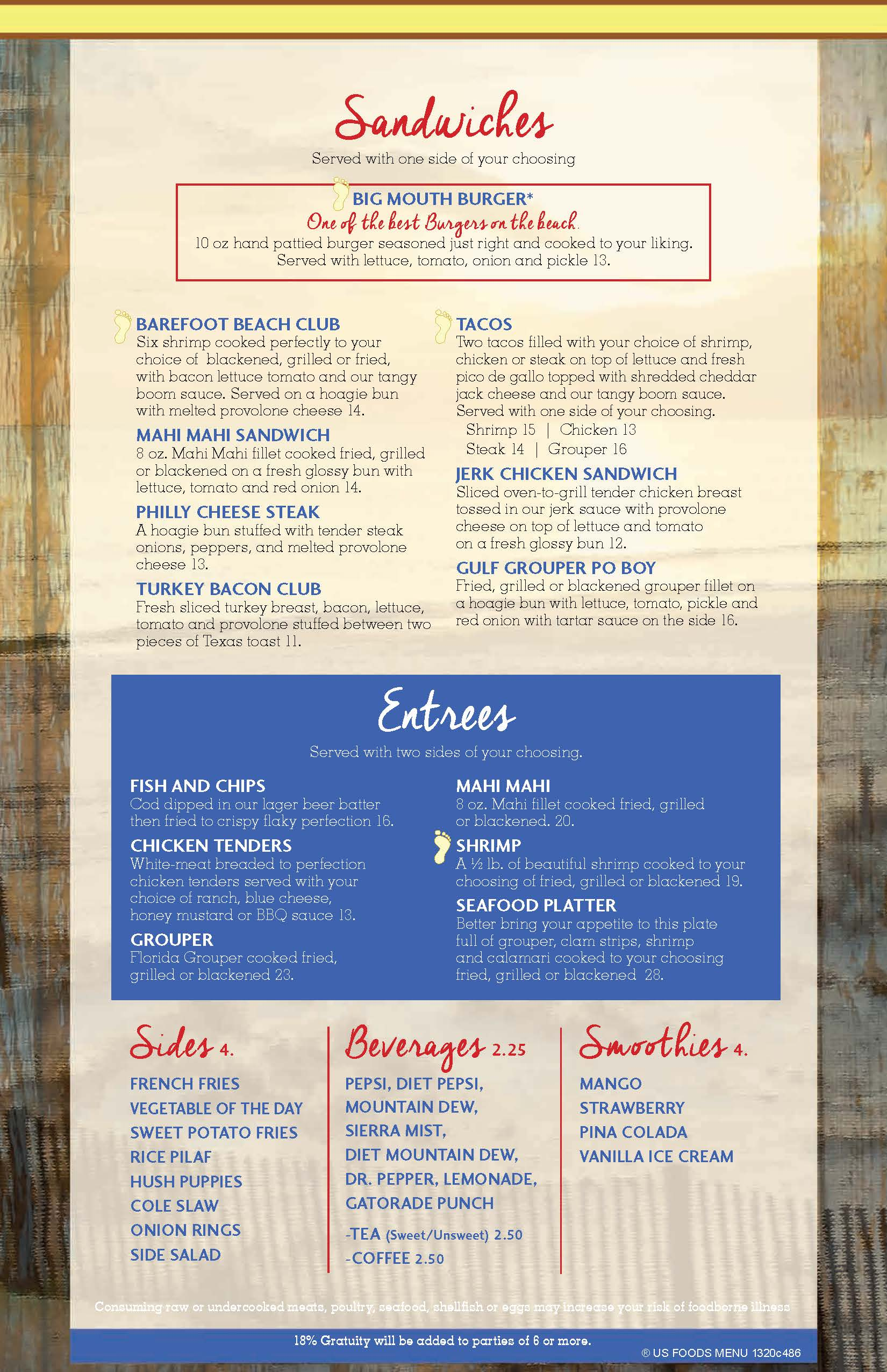 Barefoot Bar and Grill Menu