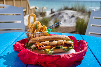 Barefoot Club Shrimp Sandwich with Onion Rings